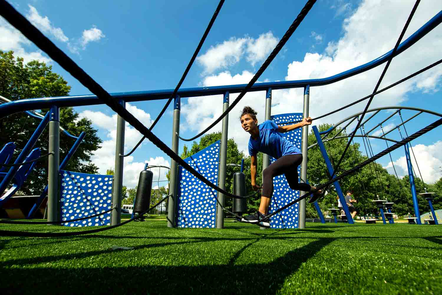 child using obstacle course