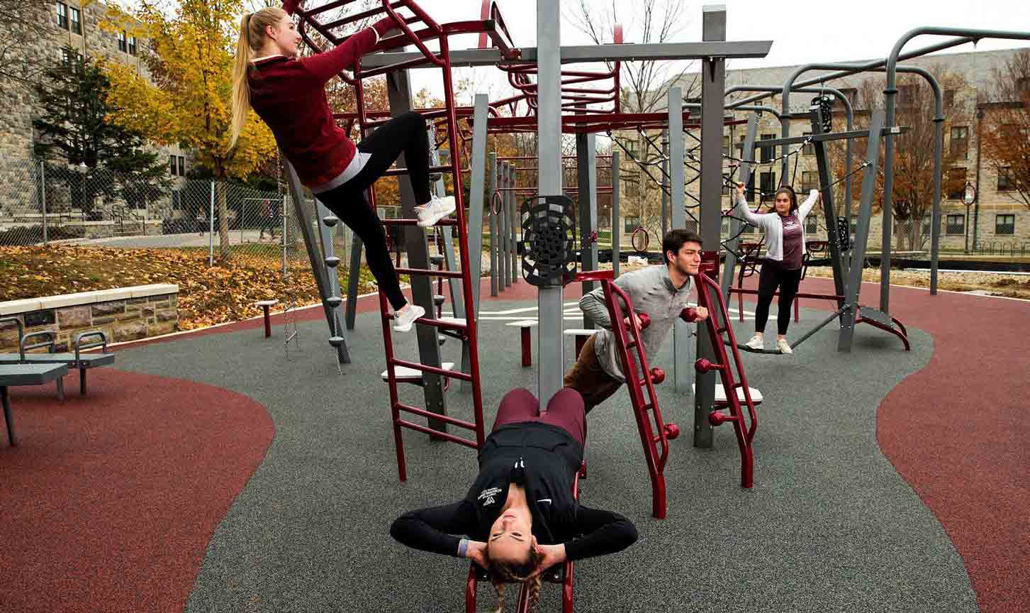 teens on compact fitness equipment