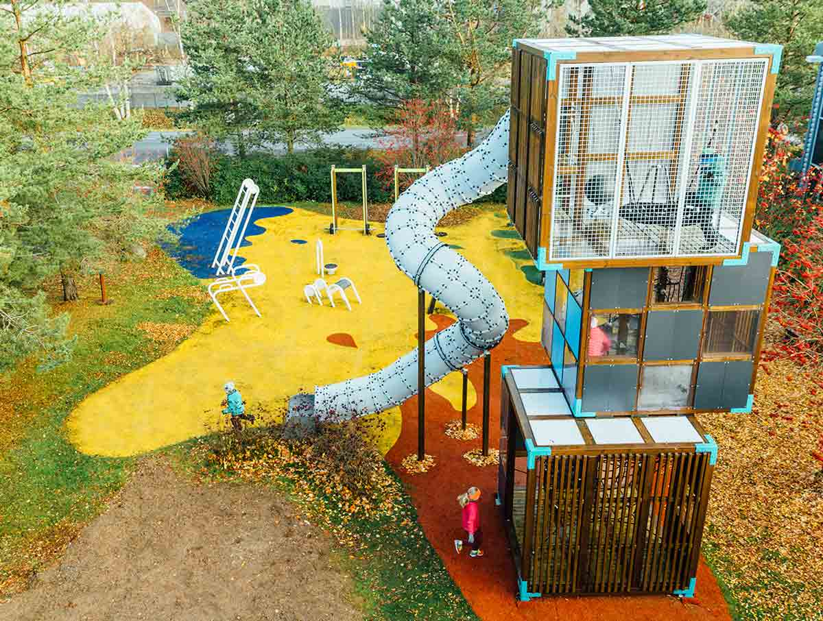 compact wood tower playground